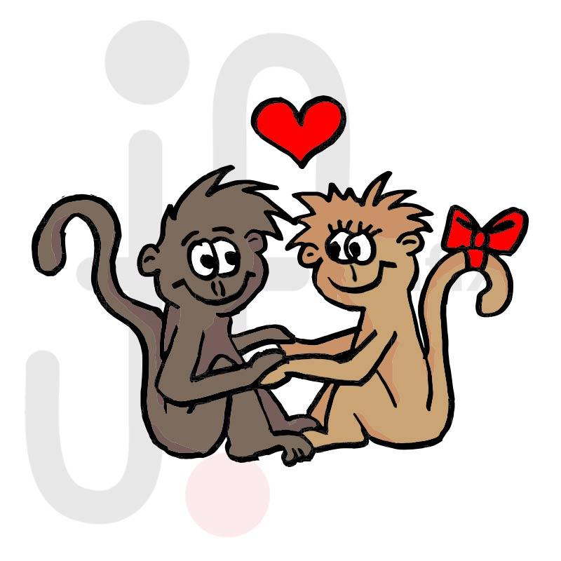 Valentinstag Affen 001 farbig