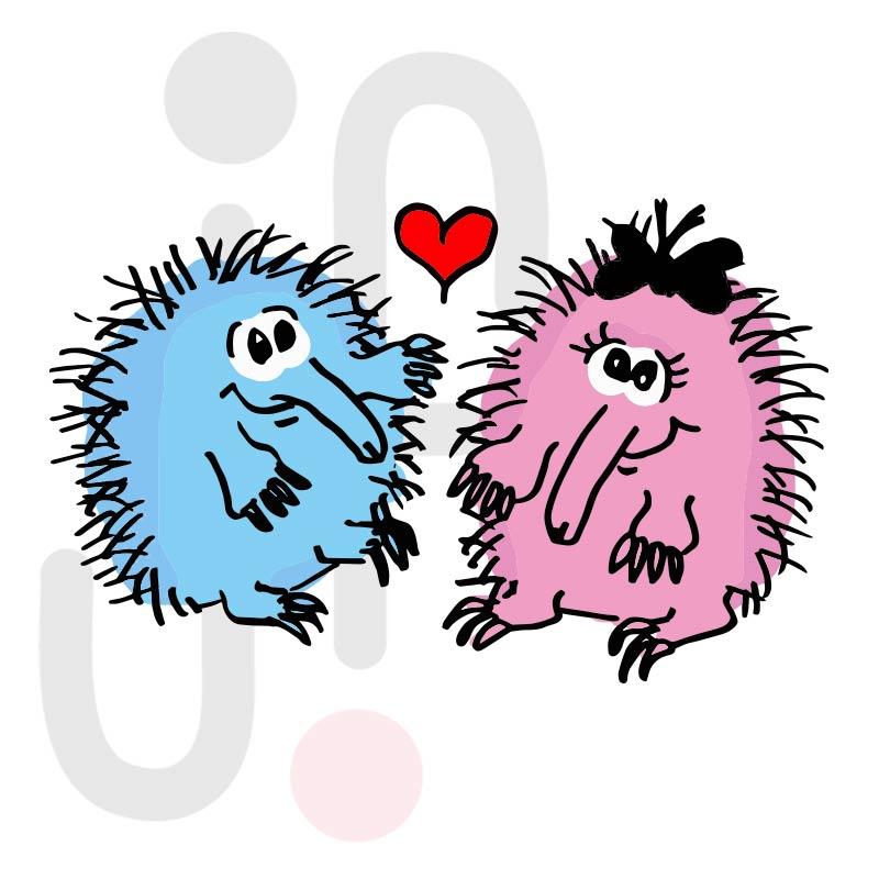 Valentinstag Ameisenigel 001 farbig