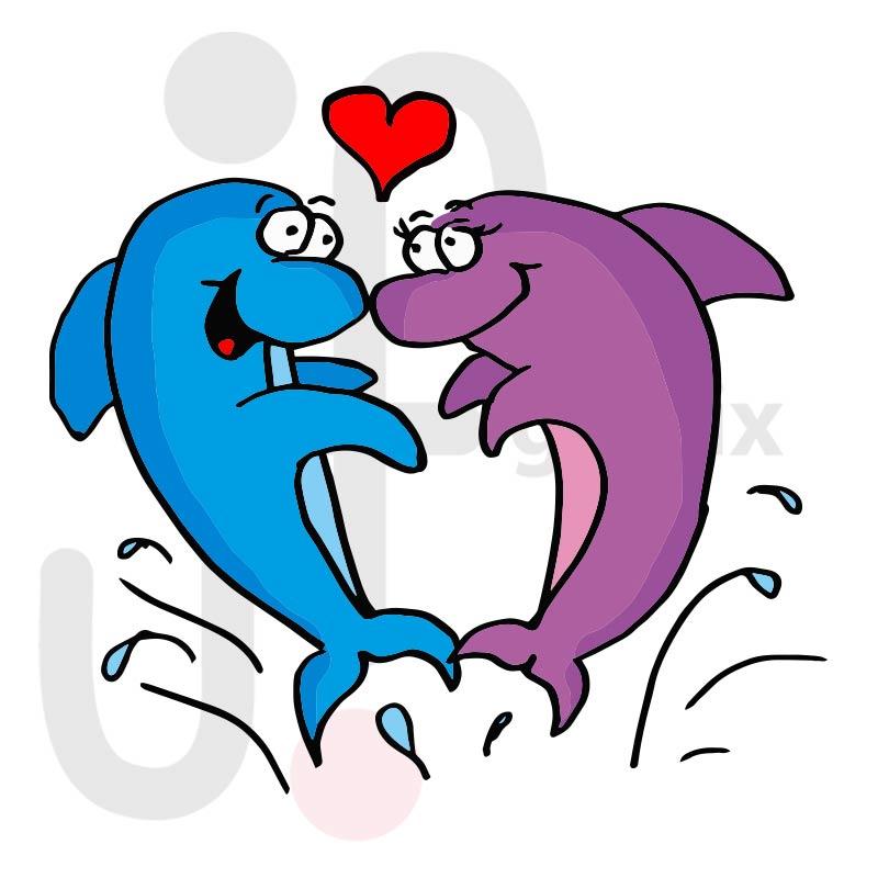 Valentinstag Delfine 001 farbig