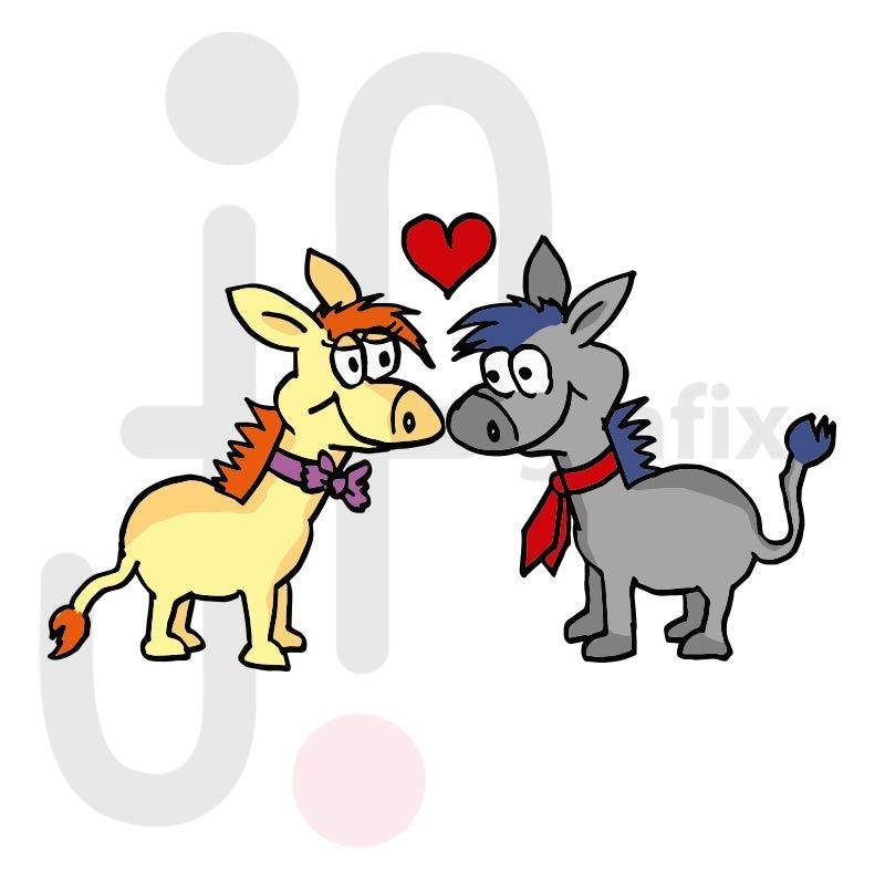 Valentinstag Esel 001 farbig