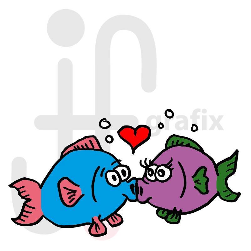 Valentinstag Fische 001 farbig