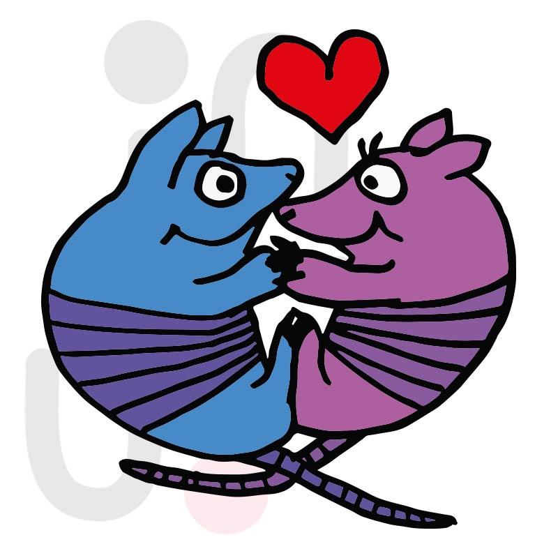 Valentinstag Gürteltiere 001 farbig