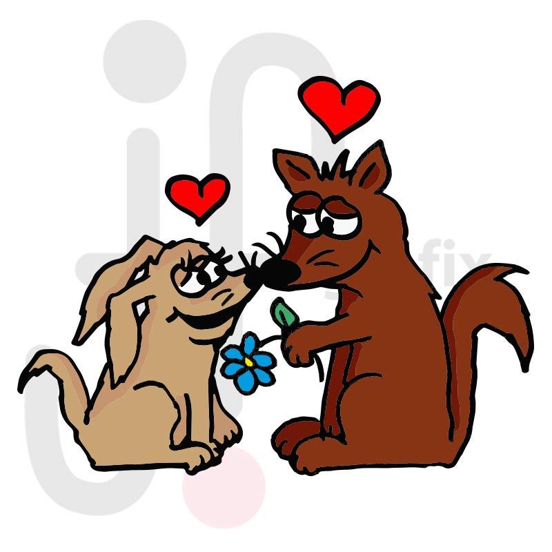 Valentinstag Hunde 001 farbig
